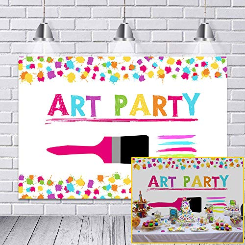 COMOPHOTO Art Painting Party for Decoration Birthday Theme Artist Backdrop Parties Paint Splatter Photo Background Graffiti Wall Brush Photography Backdrop 7x5ft Vinyl Fabric -