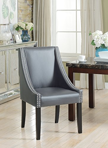 Lincoln Modern Grey Leather Silver Nailhead Trim Swoop Arm Dining Chair (Set Of 2)