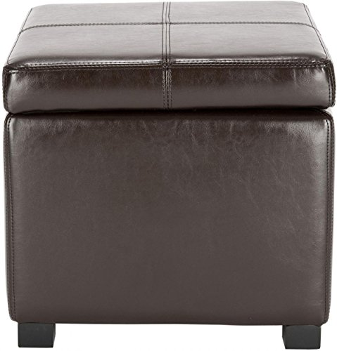 (Safavieh Hudson Collection Williamsburg Brown Leather Square Storage Ottoman )