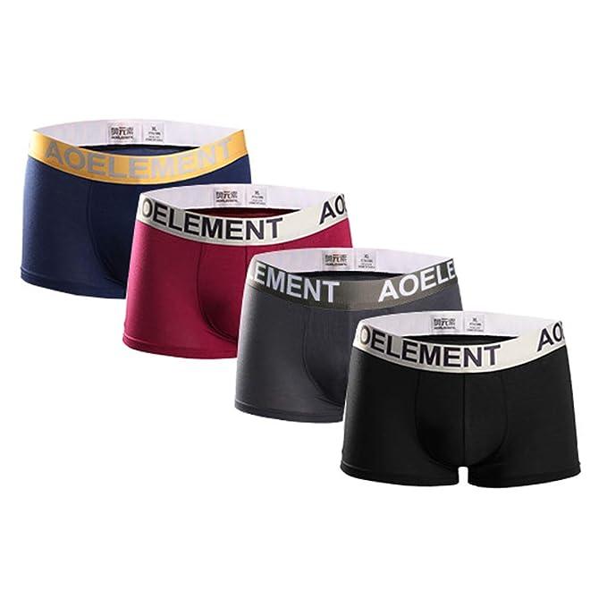 21a072835909 Calzoncillos de algodón para Hombre Pantalones Cortos Cinturón elástico  Ancho U Calzoncillos de diseño Convexo en