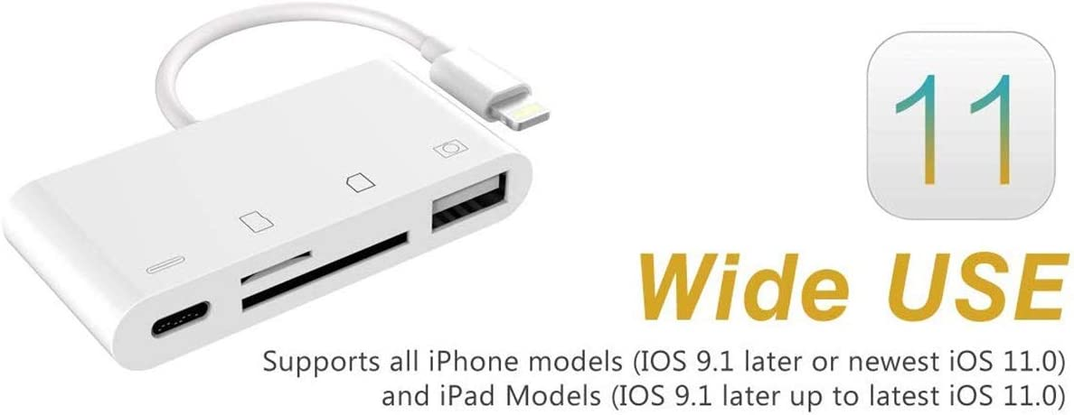SD//TF Card Reader PD Port Compatible with iPhone IhDFR 4 in 1 Card Reader Adapter with USB 2.0 Female OTG Adapter Cable