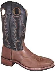 Smoky Mountain Mens Tan/Black Ryan Square Toe Western Cowboy Boot