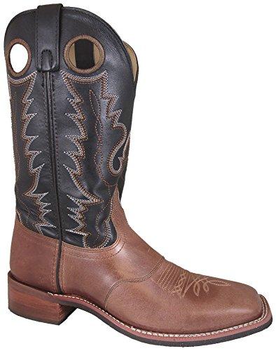 Smoky Mountain Hombres Tan / Negro Ryan Square Toe Western Cowboy Bota Bomber Tan / Negro