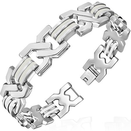Engravable Link Bracelet (Stainless Steel w/ White Rubber 2-tone Criss-Cross Mens Link Bracelet)