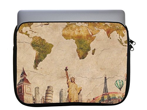Case Atlas Travel (World Travel Map Atlas Quote Printed Design 11x14 inch Neoprene Zippered Laptop Sleeve Bag by Smarter Designs for Macbook or any other laptop)