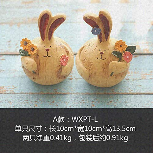 - Willower Creative Home Room, Living Room, Bedroom, Rabbit Decoration, Small Ornaments, Dormitory Dressing Table, Girl Heart Arrangement Gift,Section A: A Pair of Big Drum Rabbits