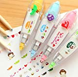 4 Pack Novelty Cute Cartoon Correction Tape Sticker Machines Pen Adhesive Kawaii Stationery Masking Tape School Supplies DIY Scrapbooking Stickers Diary Décor,Q433