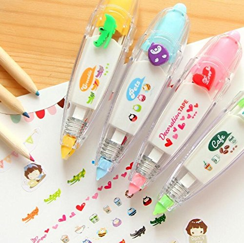 4 Pack Novelty Cute Cartoon Correction Tape Sticker Machines Pen Adhesive Kawaii Stationery Masking Tape School Supplies DIY Scrapbooking Stickers Diary Décor,Q433 by Ecago