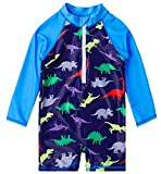 Uideazone Kids Baby Boys Dinosaur One-Piece Full Body Swimsuit UV50+ Swimwear Bathing Suit Beach Surf Long Sleeve Shirt 18-24 Months