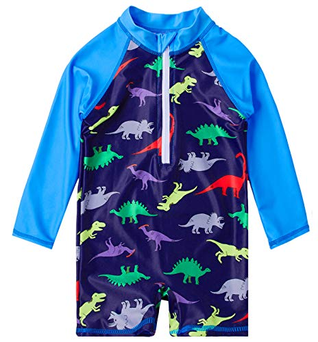 Uideazone Kids Baby Boys Dinosaur One-Piece Full Body Swimsuit UV50+ Swimwear Bathing Suit Beach Surf Long Sleeve Shirt 18-24 Months ()