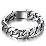 COOLSTEELANDBEYOND Top Quality Mens Stainless Steel Curb Chain Bracelet High Polished Silver Color