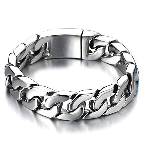 Top Quality Men's Stainless Steel Curb Chain Bracelet High Polished Silver Color