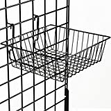 "Displays2go, 12""w x 12""h Gridwall Basket Holders, Set of 6, Wire Construction, Small Size for Retail Accessories - Black Finish (GRDSQBSKT)"