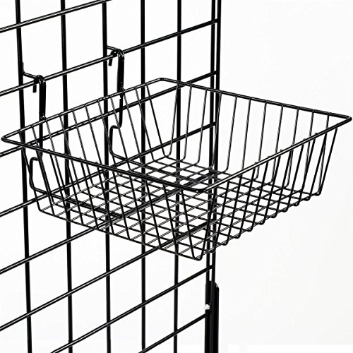 "Displays2go, 12""w x 12""h Gridwall Basket Holders, Set of 6, Wire Construction, Small Size for Retail Accessories - Black Finish (GRDSQBSKT) by Displays2go (Image #3)"