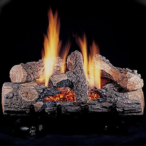 (Rasmussen 18-inch Chillbuster Gas Log Set With Vent Free Natural Gas Evening Embers Single Burner - Variable Flame Remote)