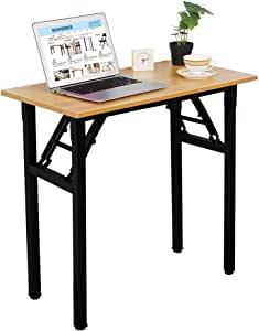 Need Small Desk Folding Desk No Assembly Required Sturdy and Heavy Duty Desk for Small Space and Laptop Desk Damage Free Deliver(Teak Color Desktop & Black Steel Frame) AC5BB-E1(8040)