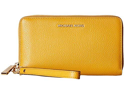 - Michael Kors Large Pebbled Leather Card Case- Marigold