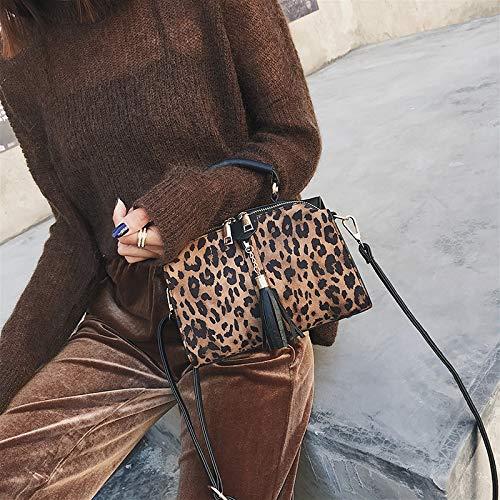 colore Onesize Personalità Spalla Leopardo Stampa Cachi Modo Borsa Della Diagonale Wygmadlifeqq Di Dimensioni Nero wCxzZq1x6