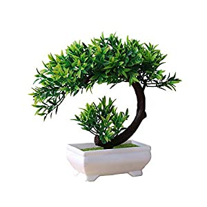 Sevem-D New 1Pc Artificial Lotus Plant Potted Indoor Table Top Ornaments Simulation Bonsai Craft Fake Green Decoration,2 29
