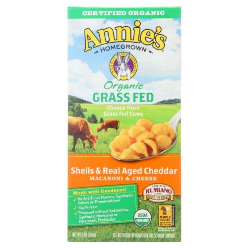 Annies Homegrown Macaroni and Cheese - Organic - Grass Fed - Shells and Real Aged Cheddar - 6 oz - case of 12 by Annie's Homegrown