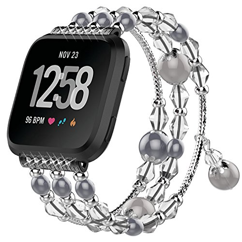 CreateGreat for Fitbit Versa Bands, Stainless Steel Metal Replacement Wristbands Bling Adjustable Fitbit Versa Accessories Pearl Bracelet Strap