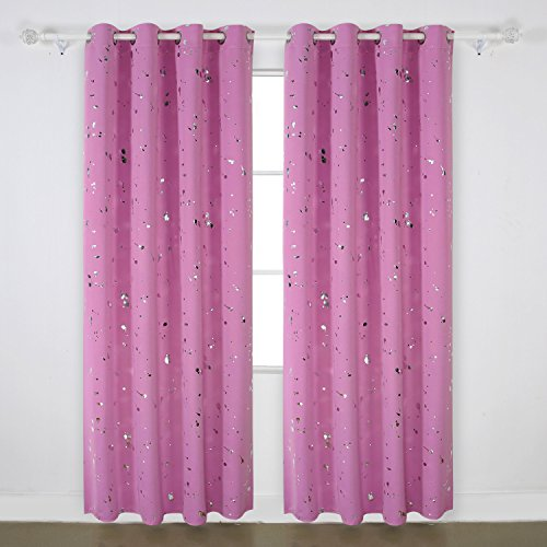 Deconovo Decorative Curtains Silver Dots Foil Printed on Rose Thermal Insulated Blackout Grommet Curtains for Bedroom 52W x 95L 1 Pair