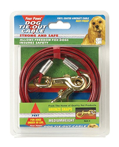 Four Paws Red 15 Foot Medium Weight Dog Tie Out (Four Paws Dog Tie Outs)
