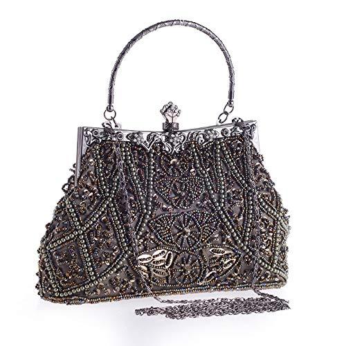Yzibei da da da da sposa pratico strass con borsa sera sposa Borsa rilievo Champagne borsa donna Marrone vintage in Colore rxvrngwq