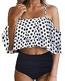 Tempt Me Women Two Piece Off Shoulder Ruffled Flounce Crop Bikini Top with Print Cut Out Bottoms White Polka Dot L