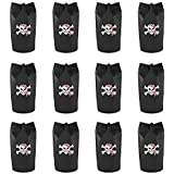 Black Polyester Pirate Theme Loot Treasure Backpacks Bags with Drawstring Closure & Skull Design for Birthday Party, Children Event Decoration, Favors, Toy Goody Gifts (12 Pack)