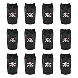Super Z Outlet Black Polyester Pirate Theme Loot Treasure Backpacks Bags with Drawstring Closure & Skull Design for Birthday Party, Children Event Decoration, Favors, Toy Goody Gifts (12 Pack)