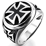 INBLUE Men's Stainless Steel Ring Silver Tone Black Cross Size9