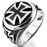 INBLUE Men's Stainless Steel Ring Silver Tone Black Cross