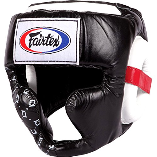 Fairtex Headguard HG-10 HeadGear Helmet Boxing Head Guard Thai Boxing K-1 MMA Head Gear Guard Protective Muay Thai (Black, Large)