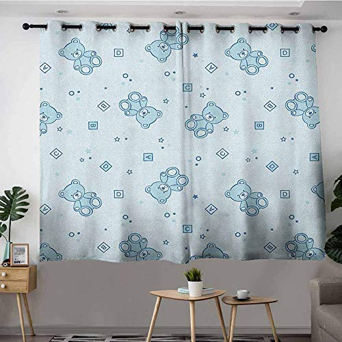 VIVIDX Sliding Door Curtains,Nursery Teddy Bears and Toys with Letters on Children Imagery Baby Blue Background,Hipster Patterned,W55x45L Baby Blue Aqua