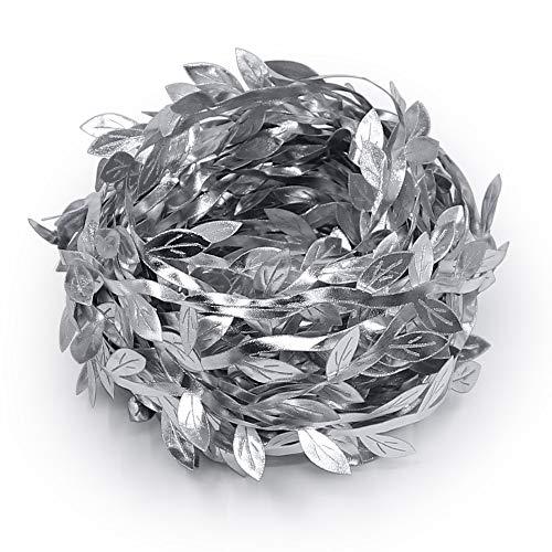Silver Leaf Trim - Lowki Olive Leaves Leaf Trim Ribbon for DIY Craft and Decoration 33ft (Silver)