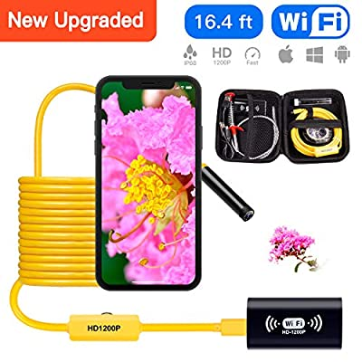 Wireless Endoscope Camera WiFi Borescope Inspection Snake Camera 1200P Waterproof Semi-Rigid Wireless Endoscope for Android iOS Mac Windows by Austone (Yellow 16.4FT)