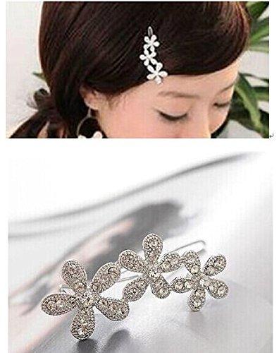 - New Fashion Sweet Full Rhinestone Flower Silver Tone Metal Hair Clip Hairpin
