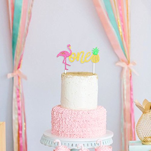 Amazon Flamingo Pineapple 1st First Birthday Cake Toppers Decoration Glitter One Tropical Hawaiian Luau Themed Party Supplies Kitchen Dining