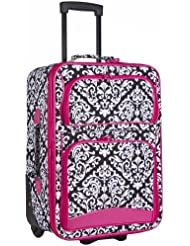 Ever Moda Pink Floral Damask 20-inch Expandable Carry On Rolling Luggage