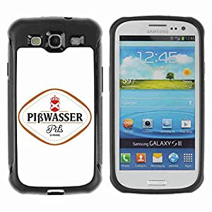 A-type Arte & diseño Anti-Slip Shockproof TPU Fundas Cover Cubre Case para Samsung Galaxy S3 III / i9300 / i717 ( Funny Beer PISSWASSER PILS ÜRHINE )