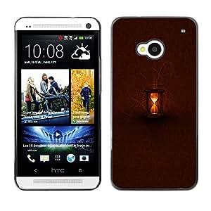 TopCaseStore / la caja del caucho duro de la cubierta de protección de la piel - Brown Light Time Deep Waiting - HTC One M7