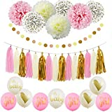 Sogorge It's A Girl Ballon Baby Shower Decorations Pink Cream Glitter Gold Tissue Paper Pom Pom Polka Dot for Girl Baby Shower Decorations Pink Gold Party Decor