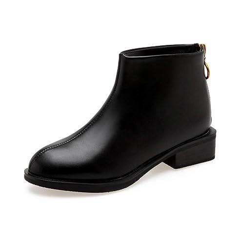 Mujeres Botines Botines Primavera Otoño Vintage Zapatos Casuales Damas Tacones Medios Calzado Exterior Zip Botas Impermeables: Amazon.es: Zapatos y ...