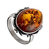 Sterling Silver and Baltic Honey Oval Amber Ring