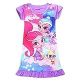 Tsyllyp Girls Sleep Nightgown Loose Fit Pajamas Cartoon Printed Princess Dress