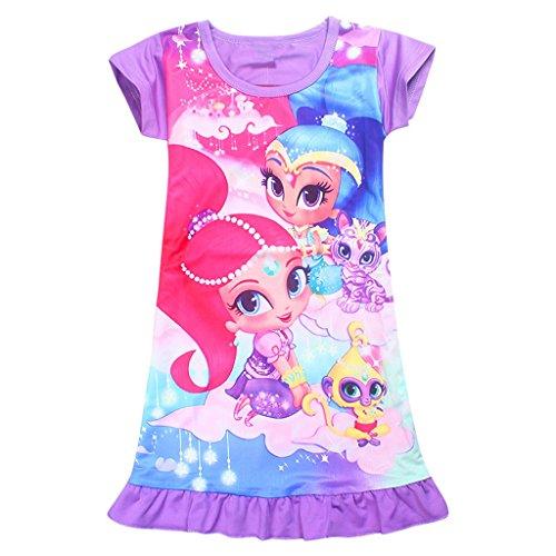 Tsyllyp Girls Sleep Nightgown Loose Fit Pajamas Cartoon Printed Princess Dress by Tsyllyp
