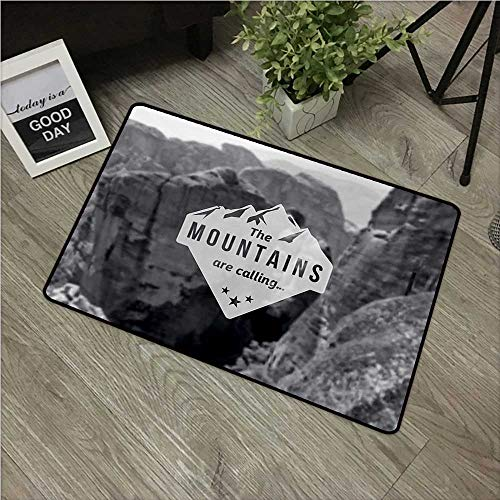 HRoomDecor Adventure,Custom Door mats Mountains are Calling Landscape Picture with Motivational Quote Artwork Print W 20