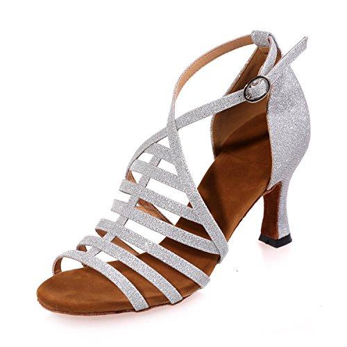 Satin Rouge Latine Marron Bleu De Or Danse Chaussures L FéMinine avec Personnalisable Noir Blanc white YC O1Xq7WzTY