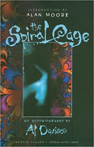 Front cover of Al Davison's book, The Spiral Cage. It depicts an abstract pattern with the close up of a face.